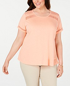 Plus Size Crochet-Trim Cotton T-Shirt, Created for Macy's