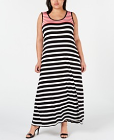 Calvin Klein Plus Size Striped Maxi Dress