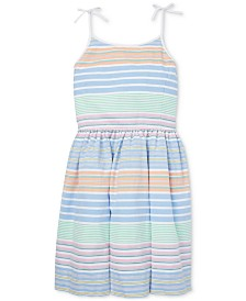 Polo Ralph Lauren Big Girls Striped Cotton Oxford Dress