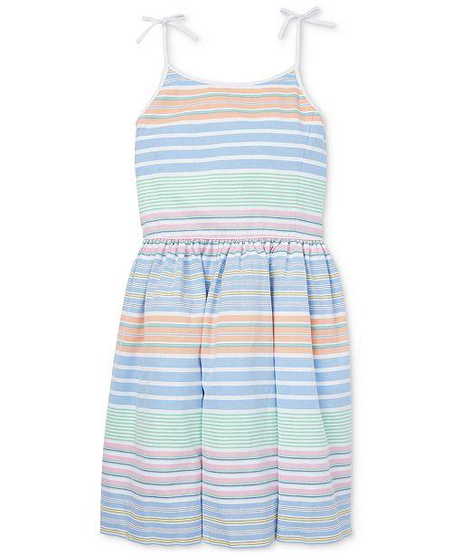 Polo Ralph Lauren Big Girls Striped Cotton Oxford Dress