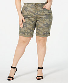 Style & Co Plus Size Camo-Print Shorts, Created for Macy's