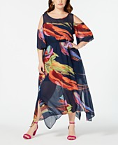 216b2fe4e10 Robbie Bee Plus Size Cold-Shoulder Printed A-Line Maxi Dress