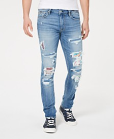 GUESS Men's Skinny-Fit Stretch Patched Destroyed Jeans