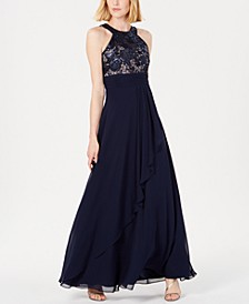 Embellished Ruffled Gown