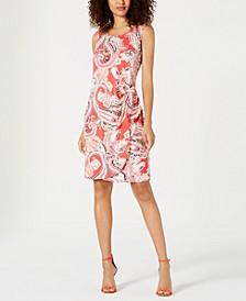 Petite Floral Printed Faux-Wrap Dress