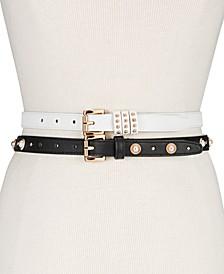 2-Pk. Faux Leather Skinny Belts