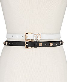 Steve Madden 2-Pk. Faux Leather Skinny Belts