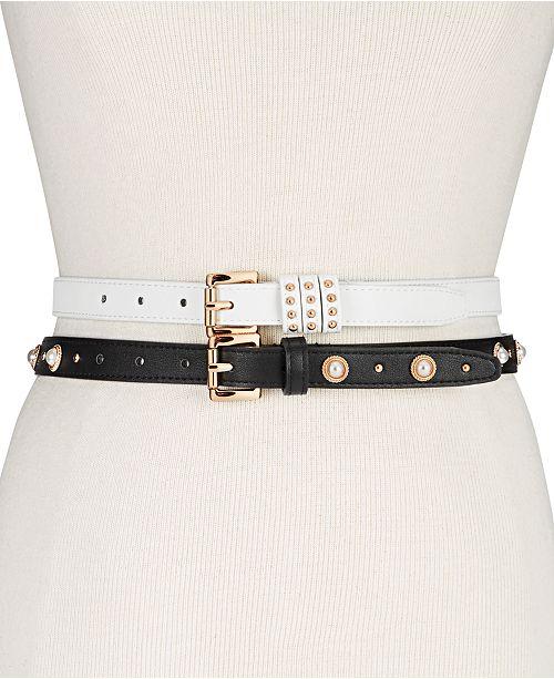 Steve Madden 2-Pk. Faux Leather Skinny Belts