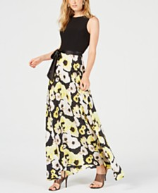 I.N.C. Printed Tie-Waist Maxi Dress, Created for Macy's