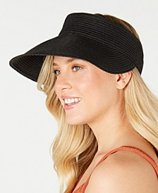 INC Solid Straw Visor, Created for Macy's