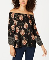 f81bcef98abba4 Style   Co Printed Off-The-Shoulder Top
