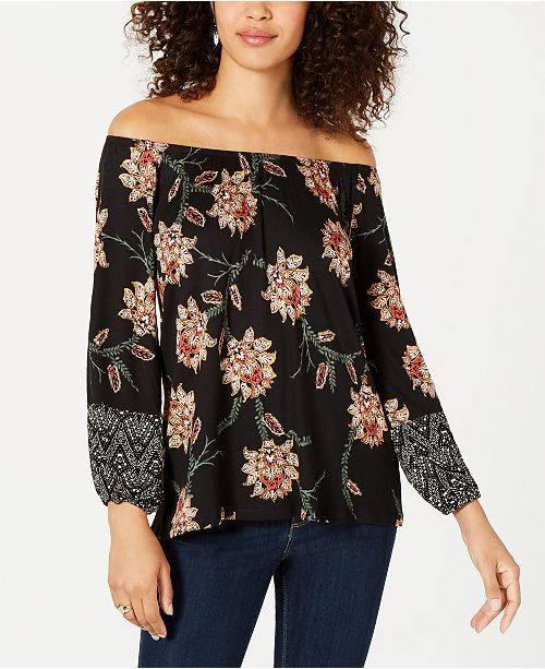 c7a3895f57fa52 ... Style   Co Printed Off-The-Shoulder Top