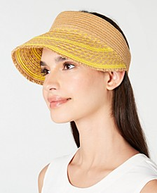 INC Printed Tweed Stripe Frayed Edge Visor, Created for Macy's