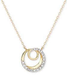 "Diamond Accent Spiral Pendant Necklace in 14k Gold, 15"" + 1 "" extender"