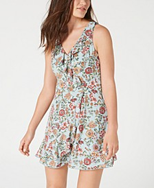 Juniors' Printed Ruffled Faux-Wrap Dress