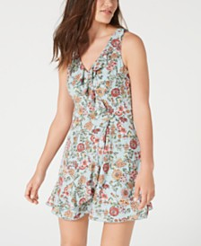 Teeze Me Juniors' Printed Ruffled Faux-Wrap Dress