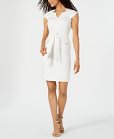 Kasper Petite Textured Tie-Front Dress