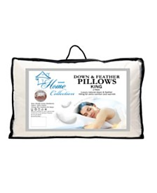 Down and Feather Blend 100% Cotton Cover Premium King Pillow 2-Pack