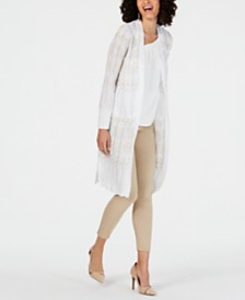 Thalia Sodi Pointelle-Knit Duster Cardigan, Created for Macy's