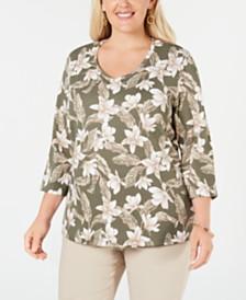 Karen Scott Plus Size Printed 3/4-Sleeve V-Neck Top, Created for Macy's