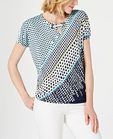 Printed Grommet-Keyhole Top, Created for Macy's