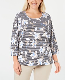 Karen Scott Plus Size Mixed-Print 3/4-Sleeve Top, Created for Macy's