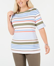 Karen Scott Plus Size Striped Boat-Neck T-Shirt, Created for Macy's