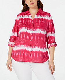 INC Plus Size Tie-Dyed Rhinestone-Button Cotton Top, Created for Macy's