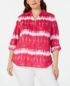 I.N.C. Plus Size Tie-Dyed Rhinestone-Button Cotton Top, Created for Macy's