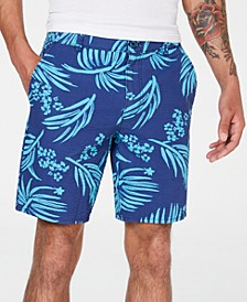 Men's Relaxed Fit Palm Print Shorts, Created for Macy's