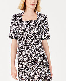 Kasper Petite Printed Square-Neck Top
