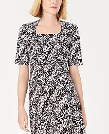 Kasper Printed Square-Neck Top