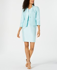 Kasper Shiny One-Button Jacket & Sheath Dress