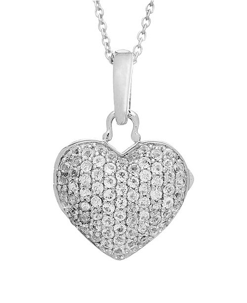 With You Lockets Carly White Topaz (1/5 ct. t.w.) Heart Photo Locket Necklace in Sterling Silver