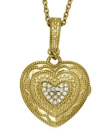 Rose Diamond Accent Photo Locket Necklace in 14k Yellow Gold over Sterling Silver