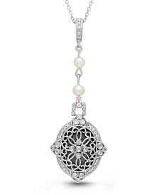 With You Lockets Georgie Diamond (1 ct. t.w.) and Pearl (4mm) Photo Locket Necklace in Sterling Silver