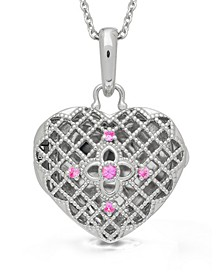 Isabel Pink Sapphire (1/2 ct. t.w.) Photo Locket Necklace in Sterling Silver (Also Available in Blue Topaz)