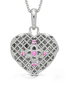 With You Lockets Isabel Pink Sapphire (1/2 ct. t.w.) Photo Locket Necklace in Sterling Silver (Also Available in Blue Topaz)