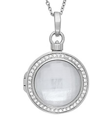 Michael Mother of Pearl and Quartz Doublet (18mm) with Diamond (1/4 ct. t.w.) Photo Locket Necklace in Sterling Silver