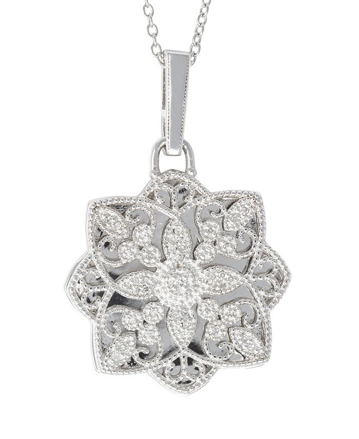 With You Lockets - Diamond (1/6 ct. t.w.) Photo Locket Necklace in Sterling Silver