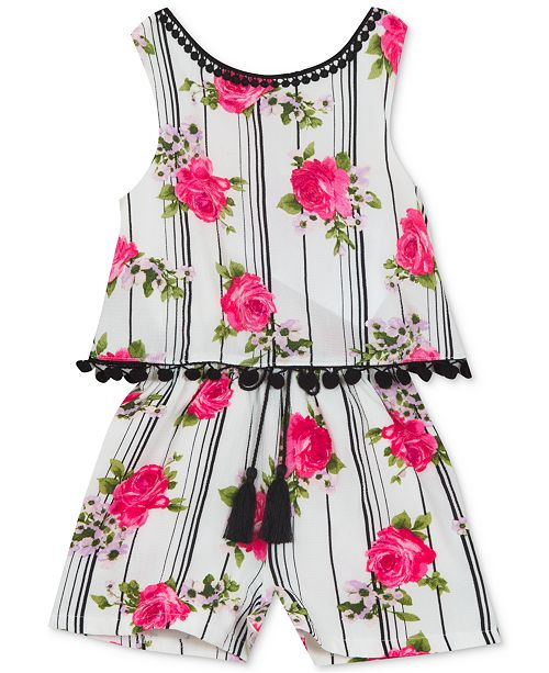 Rare Editions Baby Girls Floral-Print Popover Romper