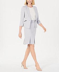 Le Suit Single-Button Zip Skirt Suit