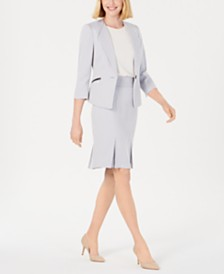Le Suit Single-Button Zip Skirt Suit