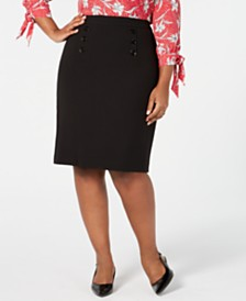 Nine West Plus Size Sailor-Button Skirt
