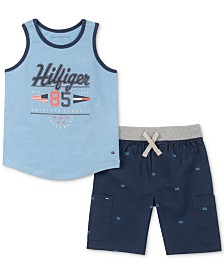 Tommy Hilfiger Baby Boys 2-Pc. Printed Tank Top & Shorts Set