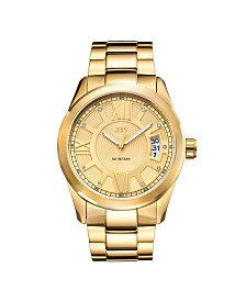 JBW Men's Bond Diamond (1/10 ct.t.w.) 18k Gold Plated Stainless Steel Watch