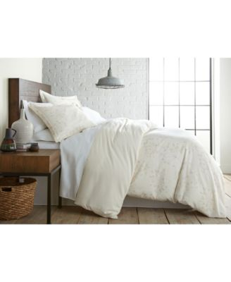 Soft Floral Printed Reversible Duvet Cover and Sham Set, Full/Queen