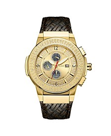 Men's Saxon Diamond (1/6 ct.t.w.) 18k Gold Plated Stainless Steel Watch