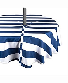 "Nautical Blue Cabana Stripe Outdoor Table cloth with Zipper 60"" Round"