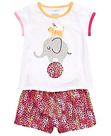 First Impressions Baby Girls Circus T-Shirt & Printed Cotton Shorts, Created for Macy's